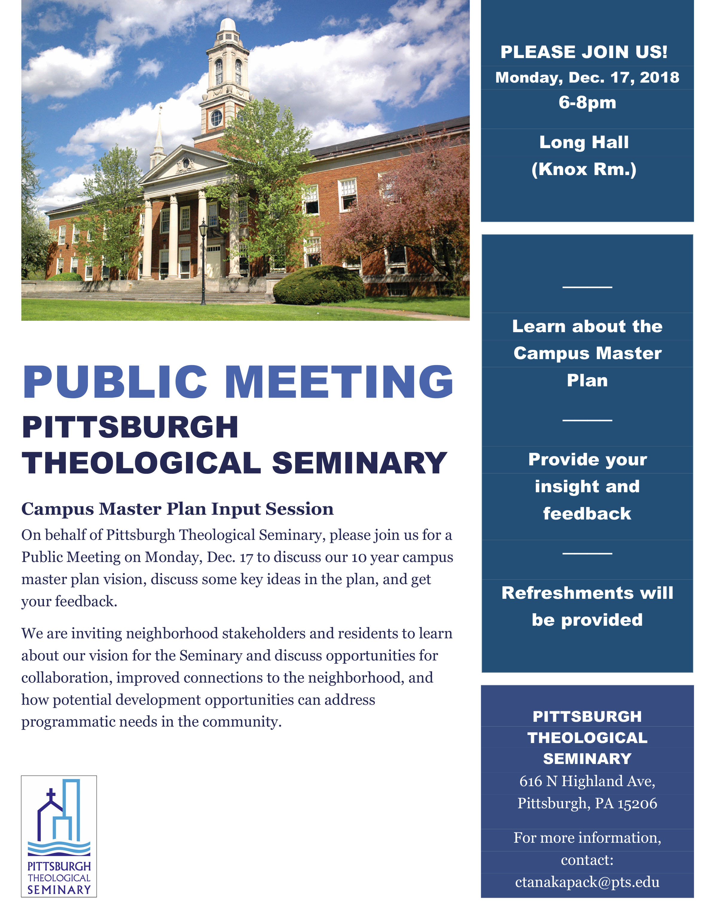 Pittsburgh Theological Seminary Community Meeting
