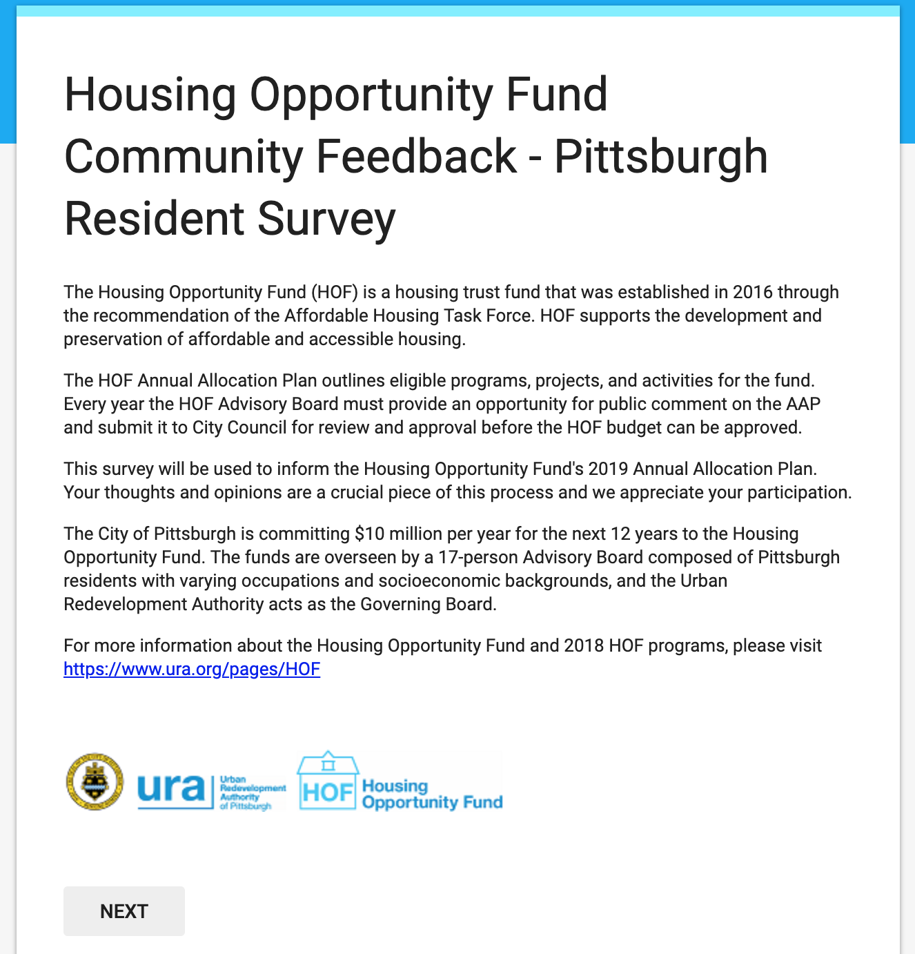 Community] Housing Opportunity Fund Community Feedback Survey