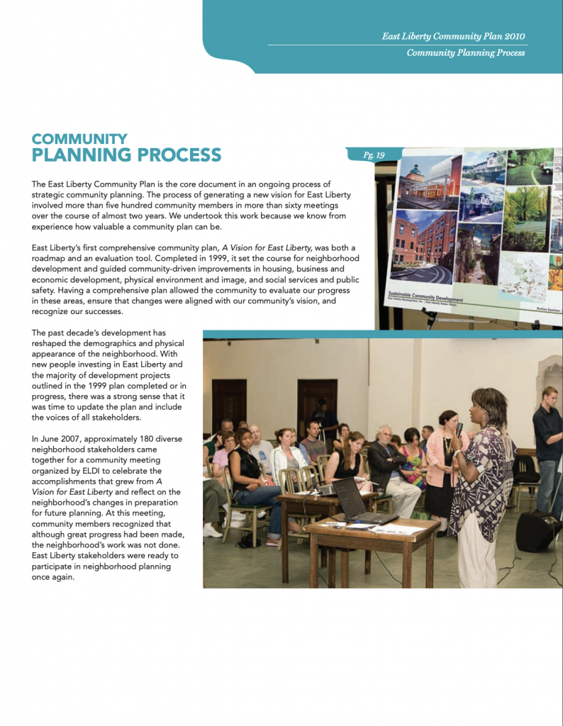 East Liberty Community Planning Committee Process
